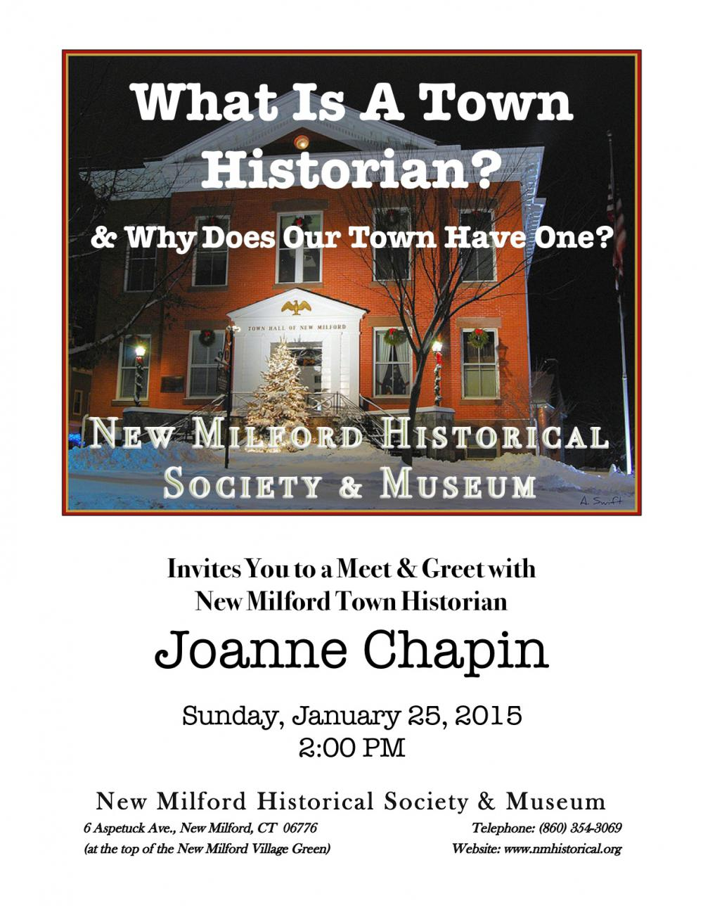 What Is A Town Historian?  & Why Does Our Town Have One?   The New Milford Historical Society