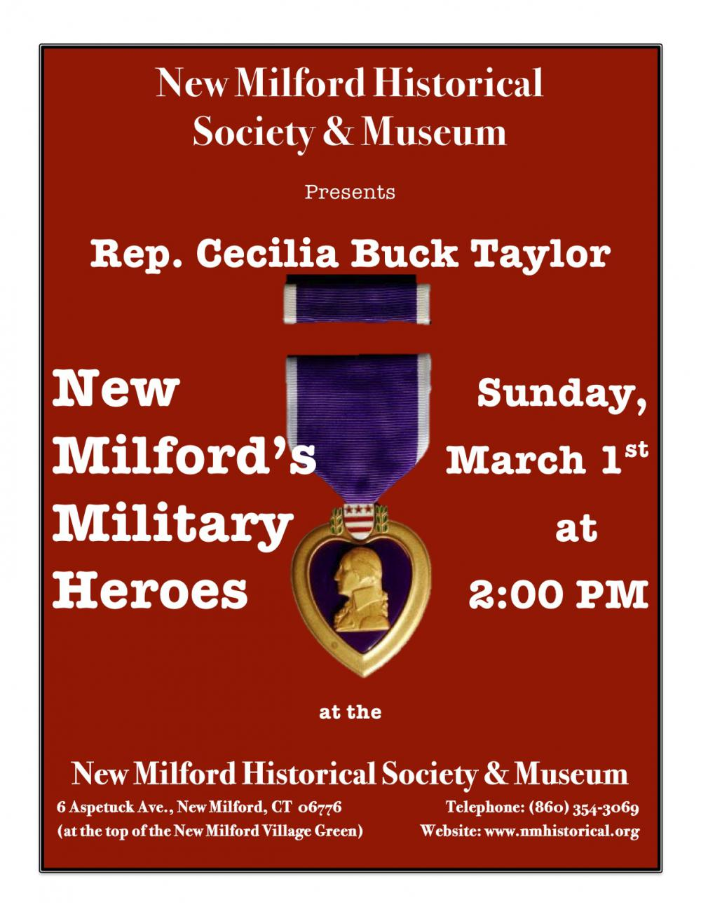New Milford Historical  Society & Museum presents Rep. Cecilia Buck Taylor