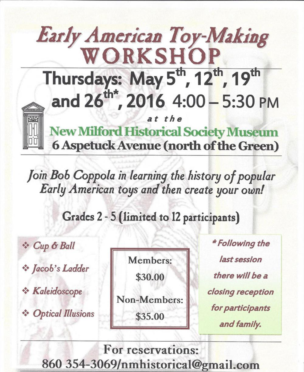 Join Bob Coppola in learning the history of early American toys, then create your own!