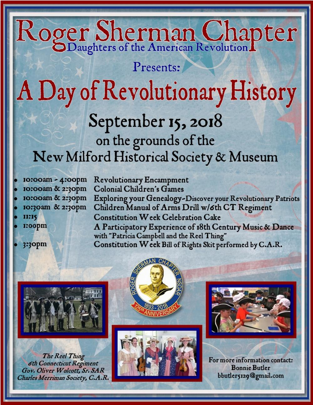 The Roger Sherman Chapter of the DAR presents A Day of Revolutionary History on the grounds of New M