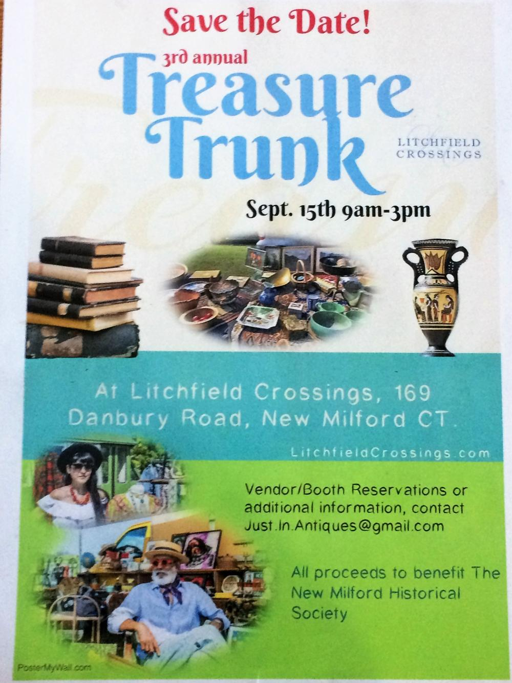 Join us for the 3rd Annual TREASURE TRUNK from 9am - 3pm at Litchfield Crossings 169 Danbury Rd (acr